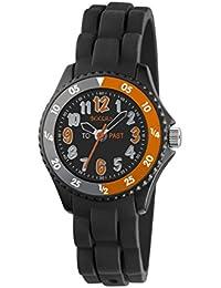 Tikkers Jungen Quarz-Uhr mit schwarzem Zifferblatt Analog-Anzeige und schwarz Silikon Strap tk0115