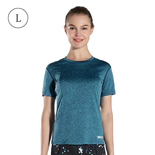 Blue-Yan T-Shirt - Sports Reflective Yoga Night Run Schlankes T-Shirt Schnell trocknender weiblicher Rundhals-Outdoor-Kurzarm-Atmungsaktive Bekleidung Fitness