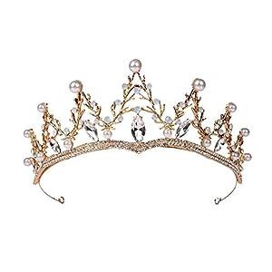 Outtybrave Hochzeit Krone Queen Stirnband Strass Große Blume Brauttiara Braut Haarschmuck Kopfschmuck