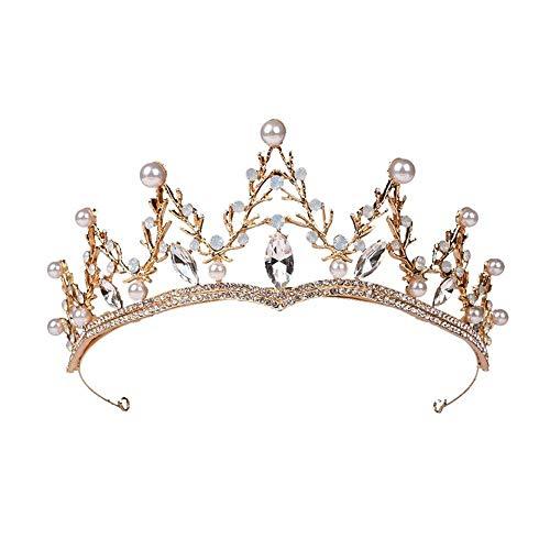 Outtybrave Hochzeit Krone Queen Stirnband Strass Große Blume Brauttiara Braut Haarschmuck Kopfschmuck - Große Blume Stirnband