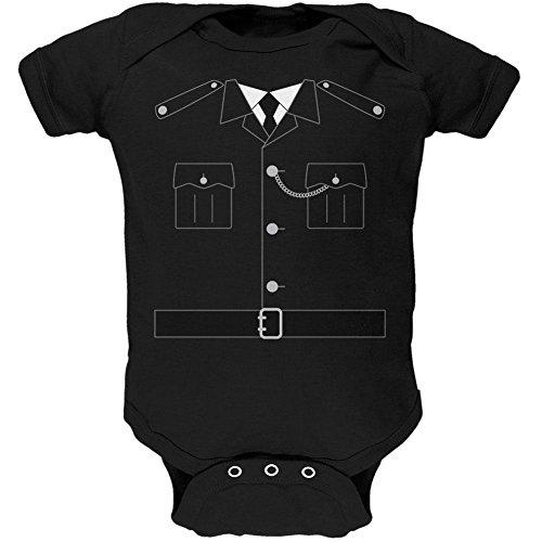Halloween britische Bobby Kupfer Polizei Kostüm weiches Baby ein Stück schwarz 0-3 (Stück Kostüm Officer Ein Polizei)