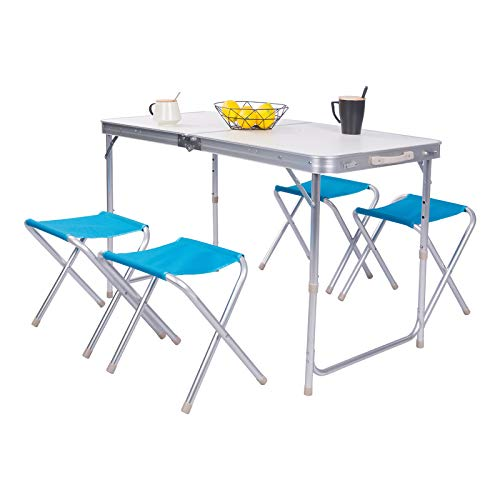 eSituro Campingtisch Koffertisch mit 4 Hocker zusammenklappbar und höhenverstellbar, Campingmöbel Set Sitzgarnitur Picknicktisch, 120 x 60 x 53-69 cm
