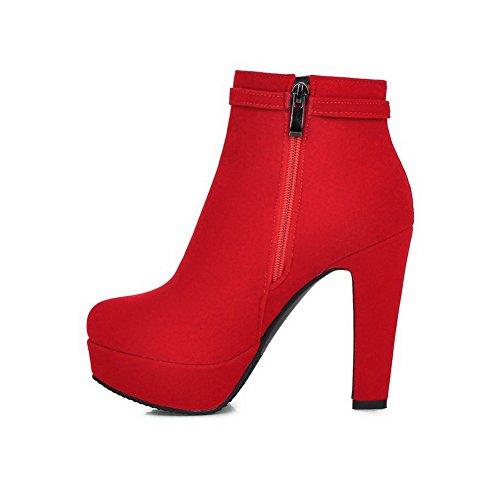 AllhqFashion Damen Mattglasbirne Rund Zehe Rein Niedrig-Spitze Hoher Absatz Stiefel, Rot, 34