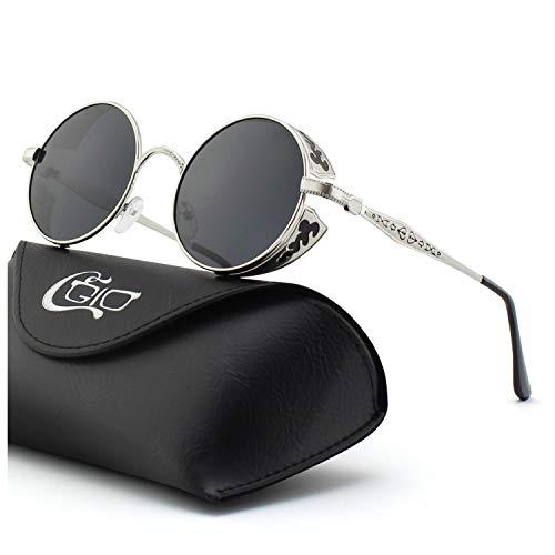 CGID E71 Occhiali da Sole da Uomo Retro Stile Steampunk Rotondi in Metallo