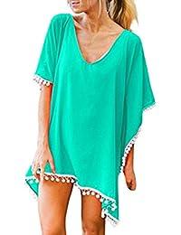 Cinnamou-Mujer Camiseta de Baño Camisolas y Pareos Ropa Traje de Bikini Cover up Suelto