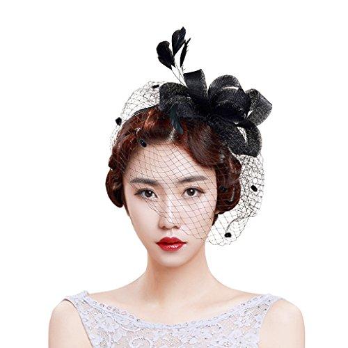 FakeFace Fascinator Hüte mit Feder Blumen Haar Clip Haarreif Haar Accessoire Netz-Mütze Schleier Tea Party Hochzeit Kirche Haarschmuck Kopfschmuck Kopfbedeckung für Frauen,schwarz - Hüte Braut Mutter Der