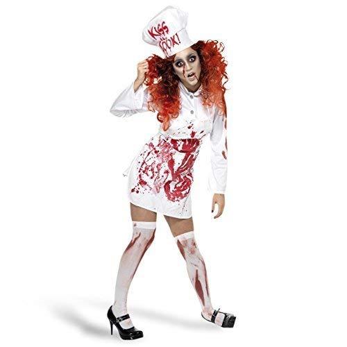 Fancy Me Damen Leichnam Zombie Blutiges Küchenchef Halloween Kostüm Kleid Outfit UK 8-12 (Besten Kostüme Halloween Am Blutig,)