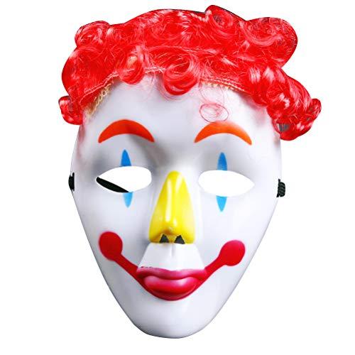 BESTOYARD Clown Maske Clown Red Hair Dress-Up Party Maske für Männer Performance Requisiten für Halloween Karneval Parteien Cosplay Maske (zufällige Farbe) (Clown Beängstigend Wirklich Masken)