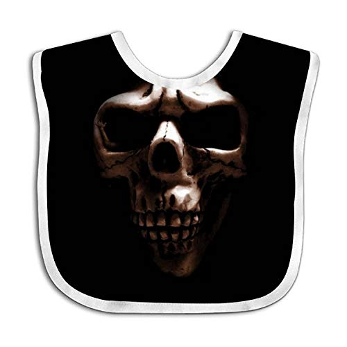 Black Skull Snap (Skull In Black Baby Bib Toddler Absorbent Feeding Scarf Drool Teething)