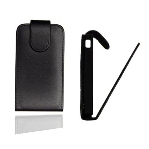 Flip Case Tasche Hülle Etui Handytasche in schwarz für Samsung GT-S5570 Galaxy mini inkl. World-of-Technik Touchpen