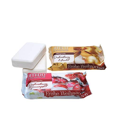UMIDO Seife 80 g Weihnachten je 1 Stück Mandel und Granatapfel - Hand-Seife - Waschstück - Seifenstück für ihre Körperpflege - Festseife - 2 x 80 g (4.) (7.)