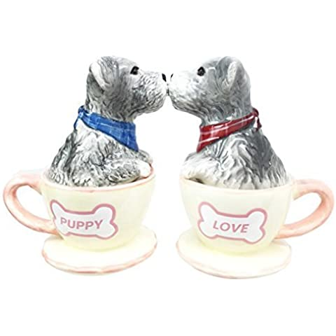 Puppy Love Adorable Teacup Schnauzer Dog Couple Salt Pepper Shaker Set Ceramic Home and Kitchen Accessory by Gifts & Decors
