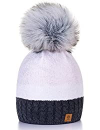 Damen Wurm Winter Style Beanie Strickmütze Mütze mit Fellbommel Bommelmütze Hat Ski Snowboard Pelz Bommel Pompon Silver 4sold