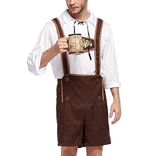 Oktoberfest Kostüm Lederhosen Bayerischen Octoberfest Deutsch Festival Bier Halloween für Männer Bier Kostüme Plus Größe M, L, XL, 2XL,3XL (Deutsch Bier Mann Kostüm)
