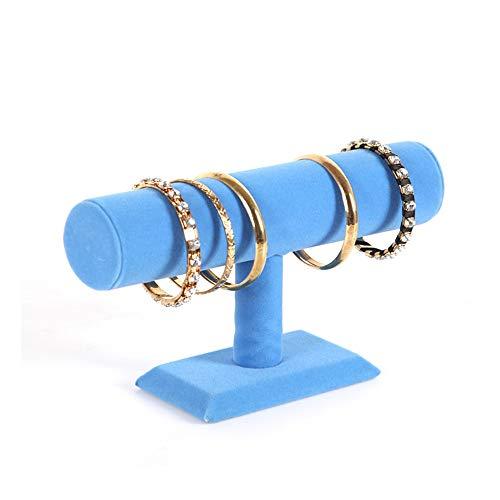 HHS Megan-NS Halskette Stehen T-Stab Armband-Halsketten-Stirnband-Schmuck-Ausstellungsstand für Hauptorganisation Zubehörständer Schmuckständer (Farbe : Royal Blue, Größe : 23.5 * 14cm) -