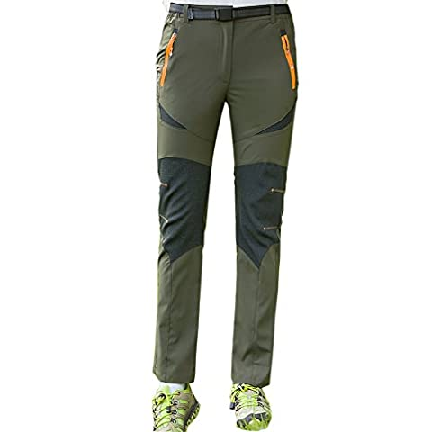 Lanbaosi Pantalon de Randonnée Stretch Léger à Séchage Rapide pour Femme Randonnée Pantalon de Sport Camping Running Respirant Armée verte XXL/FR 38