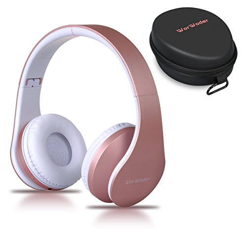 Cuffie bluetooth senza fili, worwoder over-ear stereo pieghevole wireless auricolari bluetooth 4.1 con mic cuffie ergonomicoper per iphone, huawei, samsung, ipad, tv- oro rosa