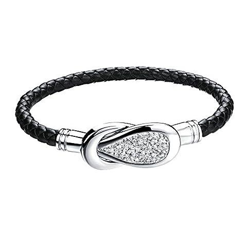 yoursfs Schmuck Armband Schwarz Leder zu der Mode für Frauen oder Mädchen als Geschenk zum Geburtstag oder Weihnachten
