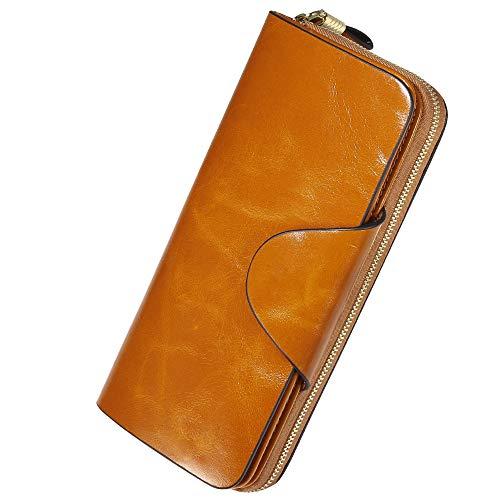 Damen Geldbörse Brieftasche aus Echt Leder Geldbeutel Geldtasche mit RFID Schutz, größer Kapazität, Multi-Kartensteckplatz auch als Handtasche Geburtstag, Valentinstag usw