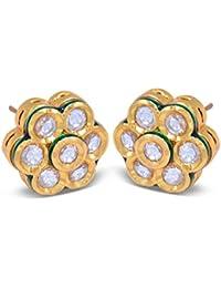 Kundans Jewellery Gold Look Traditional Earrings