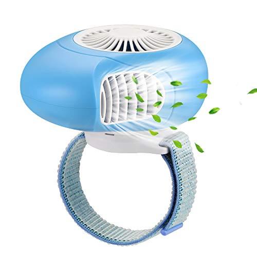 OUTXE Tragbarer USB Ventilator Mini Handheld Fan Handventilator Akku zum Wandern Backpacking Reisen, Fixierbar an Schultasche/Rucksackgurten, Wiederaufladbare Batterie (Blau) (Fan Handheld Mini)