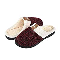 BaronHong Men's Cozy Memory Foam Slippers with Fuzzy Plush Wool-Like Lining,Slip on Clog House Shoes with Indoor Outdoor Anti-Skid Rubber Sole(burgundy,38/39)