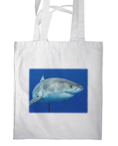 getasche / Shopper / mit Henkeln - 38x42cm - Motiv: Weißer Hai schwimmend unter Wasser [ 04 ] (Schwimmende Hai)