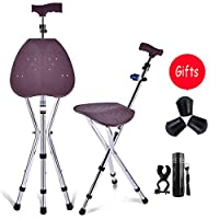 BAOFI Cane Stool, 3 Legs Cane Seats, Crutch Chair Seat, 3 Legs Cane Seats, Walking Stick Chair Combo, Folding Walking Cane, Lightweight and Adjustable, Great for Travel, With LED Light