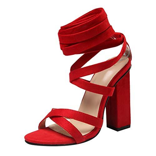 FeiBeauty Damen Sommer Sexy Cross Strap High Heels Peep Toe Pumps Hochzeit Prom Schuhe Damen Pumps elegant mit Blockabsatz & Fesselriemchen Schwarz, Rot, Khaki