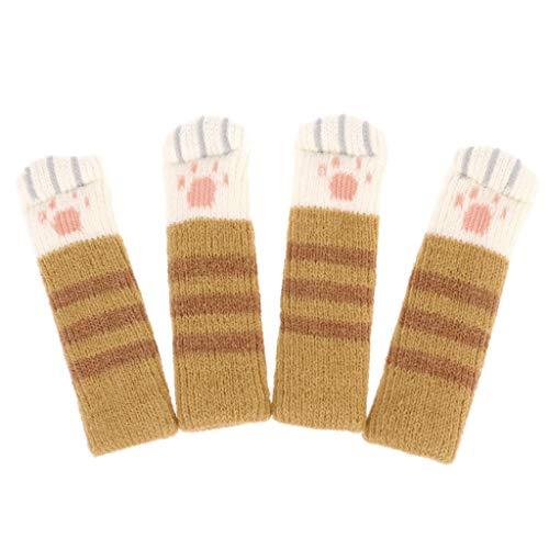 Simplelife Anti-Rutsch-Socken für Katzen, Kratzspielzeug, Möbel, Stühle, Tischbeinschutz, 4 Stück Gelb 1