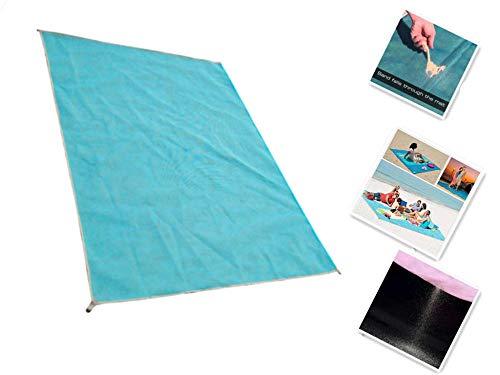 JTSYH Strandmatte Leckende Sandmatte Picknickmatte Sommer Strand im Freien Park Spielen Sand Rutsch Blau Grün Rosa 2m * 2m (Im Spielen Freien Park)
