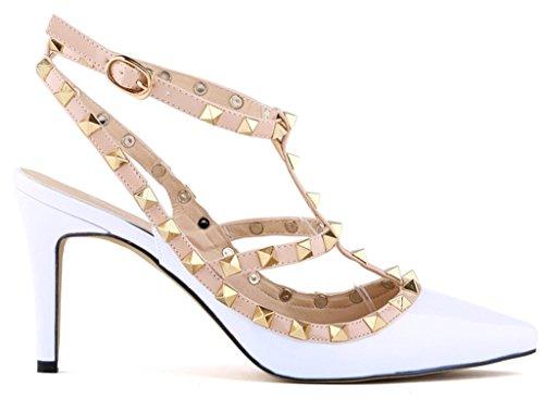 Fangsto  Heeled-sandals, Sandales Compensées femme Blanc