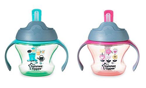 Tommee Tippee Closer to Nature 2Pack Baby First Straw Sippy Cup 150ml/141,7gram, dai 6mesi + ragazzi e ragazze plastica senza BPA Learner Cup sterilizzatore a microonde e lavastoviglie, colori