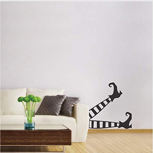 DongOJO Lustige Halloween spezielle Dekoration Hexe Beine Kunst Muster wandmalerei Vinyl Urlaub wandaufkleber Hause Zimmer 30x46 cm
