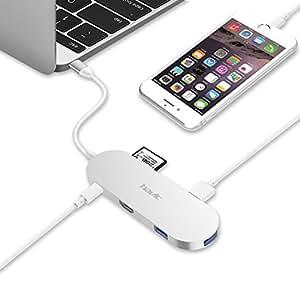 4-in-1 USB C Hub, HAVIT 3.1 USB Type-C Hub mit Power Delivery Technologie, 1 x HDMI-Anschluss (Unterstützt 4K) / 1 x SD-Kartenleser / 3 x SuperSpeed USB 3.0 Ports für Apple neues MacBook 2016, ChromeBook Pixel, Silber (TPC68)