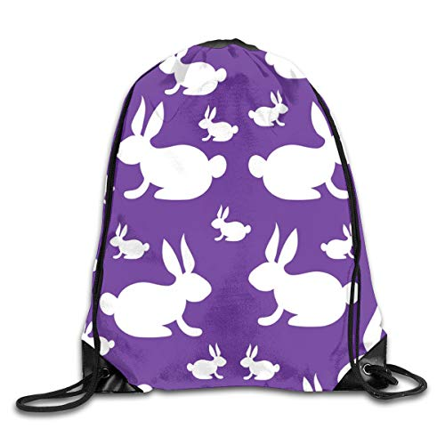 show best Bunny Rabbits On Purple Background Drawstring Gym Bag for Women and Men Polyester Gym Sack String Backpack for Sport Workout, School, Travel, Books 14.17 X 16.9 inch