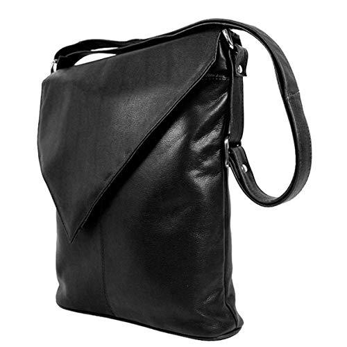 DEVRAKH Handtasche Damen Schultertasche Über-klappe Dreieck Design echtes Leder Nappaleder 19039 (Schwarz)