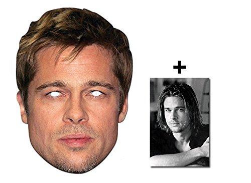 Brad Pitt berühmtheit Single Karte Partei Gesichtsmasken (Maske) Enthält 6X4 (15X10Cm) starfoto