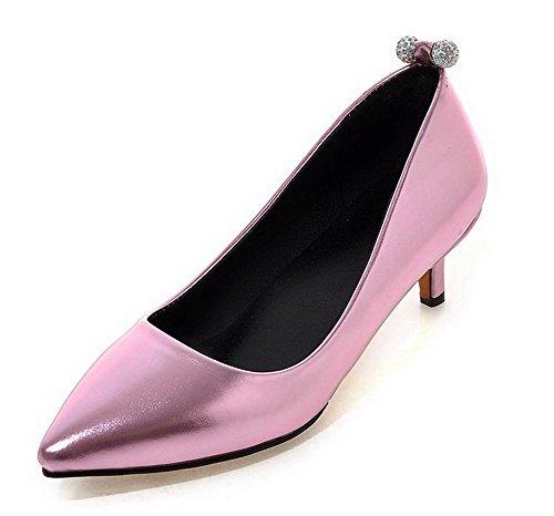 VogueZone009 Damen Ziehen Auf Spitz Zehe Niedriger Absatz Eingelegt Pumps Schuhe Pink