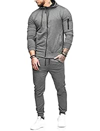 de1e1a017a Rosennie Mens Tracksuit,Men Spring Summer Fashion Casual Hooded Long Sleeve  Outwear Sport Loose Pocket