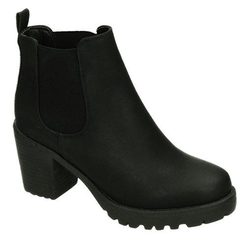 Bequeme Damen Stiefeletten Ankle Boots Plateau Knöchelhohe Stiefel Blockabsatz Kurzschaft 059 (38, Schwarz)