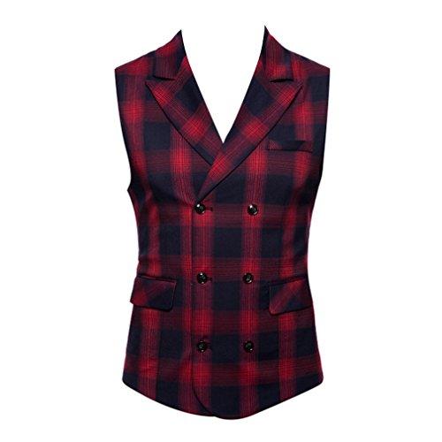 Mxssi Britischen Stil männer Plaid Anzug Weste Männer Baumwolle Strickjacke Schlanke Weste Für Männer Rot M -