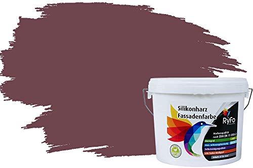 RyFo Colors Silikonharz Fassadenfarbe Lotuseffekt Trend Bordeauxbraun 6l - bunte Fassadenfarbe, weitere Violett Farbtöne und Größen erhältlich, Deckkraft Klasse 1