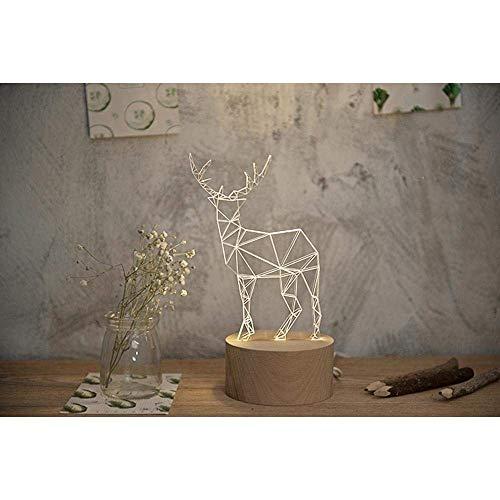 Elch Akzent (ETH Kreative, abstrakte Art, handgemachte Schreibtischlampe des Rotwild- / Elch-LED, Rotwild- / Elch-LED-Nachtlicht mit Rotwild- / Elch-entworfenem Lampenkörper u. Lampenunterseite aus Buchenholz für)