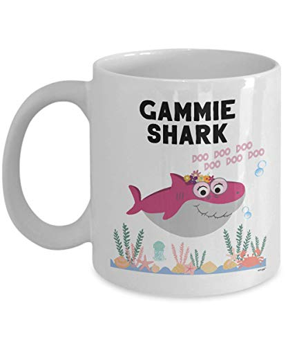 Gammie Shark Mug Funny Coffee Gifts - Dear Grandma Grandmother Best Mothers Day Christmas Birthday Love Cute Family Baby Doo Do Song Cup Women Tea Cup 11 oz Large 11 oz XSK0112