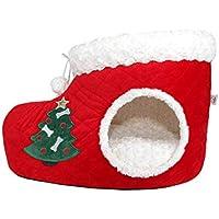 PLDDY Casas y condominios con camas para gatos de Navidad, nido cálido para mascotas,