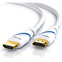 Primewire - 10,0m Ultra HD 4K câble HDMI | norme HDMI 2.0 | haut débit avec canal Ethernet | 4K Ultra HD 2160p@60Hz / Full HD 1080p | 3D / ARC / CEC / HDCP | blindé 3 fois | protection anti-courbure | grande bande passante (jusqu'à 18 Gbits/s) | blanc