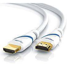 Primewire - 10,0m Ultra HD 4k Cable HDMI | HDMI 2.0 | Alta velocidad con canal de Ethernet | 4K Ultra HD 2160p@60Hz / Full HD 1080p | 3D / ARC / CEC / HDCP | Contactos dorados | Blindaje triple | Protección contra dobleces | Gran ancho de banda (hasta 18 Gbit/s) | Blanco
