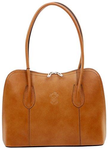 Primo Sacchi ® Italienisch glattes tan Leder Hand gemachter klassischer Stil lang gehandhabte Handtasche Tote Grab Tasche oder Schultertasche. Beinhaltet einen Markenschutz-Aufbewahrungsbeutel -