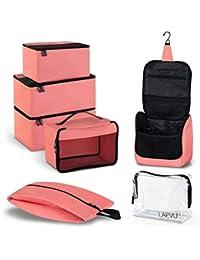d65e2d3e6f800 LAEVU Packtaschen 5 Kleidertaschen Plus Kosmetiktasche und TSA-Kulturbeutel  - 7-Teiliges Set